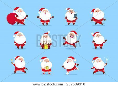 Santa Claus. Cartoon Christmas Fun Character Set For Winter Holiday Greeting Card. Santa Vector Coll
