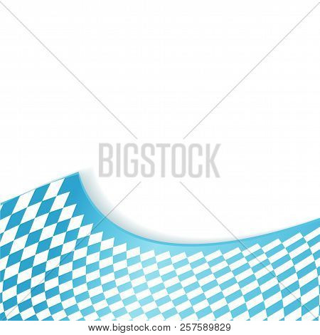 Texture Of The Bavarian Flag Background. Oktoberfest Background With Blue White Checkered Three Dime