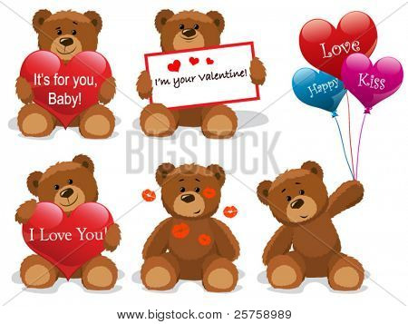 Valentine bears set vector. Look through my new pictures.