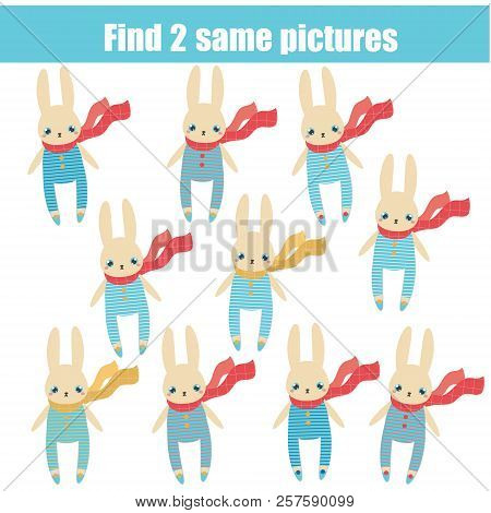 Find The Same Pictures Children Educational Game. Find Two Identical Rabbits