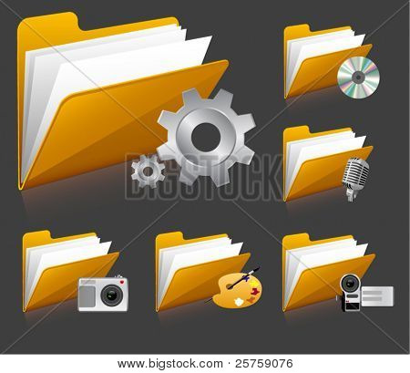 vector icons with folder