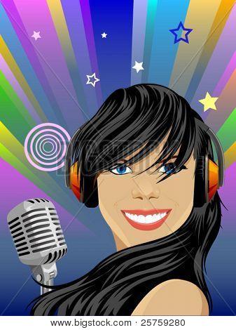 vector beauty singer girl