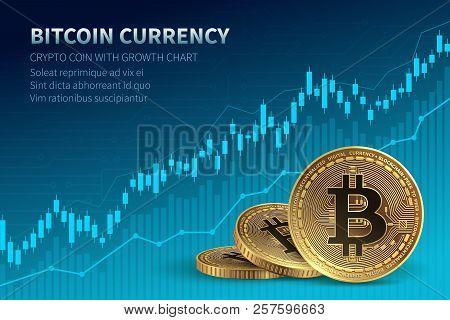 Bitcoin Currency. Crypto Coin With Growth Chart. International Stock Exchange. Network Bitcoin Marke