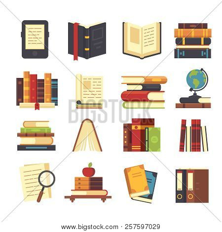Flat Book Icons. Library Books, Open Dictionary And Encyclopedia On Stand. Pile Of Magazines, Ebook