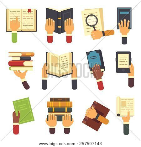 Hands With Books. Holding Book In Hand, Reading Ebook And Reader Learning Open Textbook Icon. Readin
