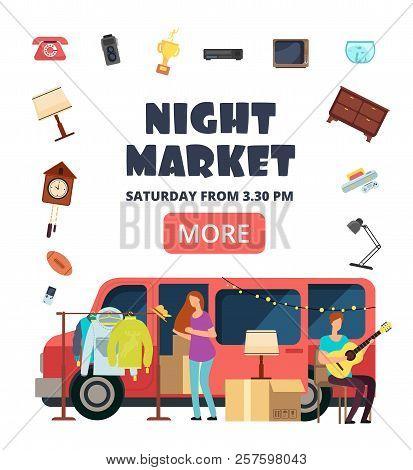Night Market, Street Bazaar Invitation Poster. Flea Markets Vector Flyer. Flea Market For Hipster, M