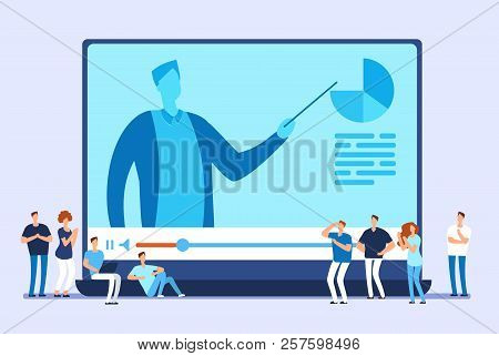 Online Education. Video Tutorials, Internet Training And Web Course Vector Concept. Illustration Of
