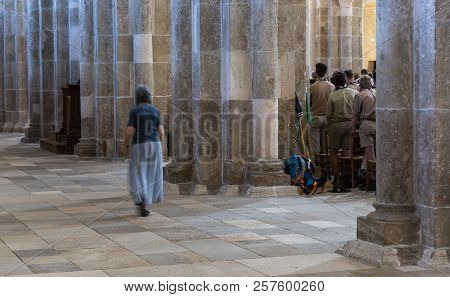 Vezelay, France - July 29, 2018: Church Service With Boy Scouts In The Romanesque Church And Abbey O