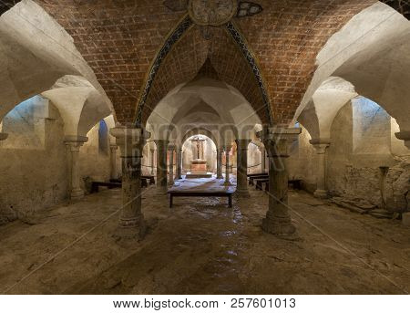 Vezelay, France - July 29, 2018: Crypt Of The Romanesque Abbey Of Vezelay In Yonne, France.