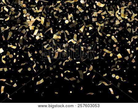 Gold Glitter Realistic Confetti Flying On Black Holiday Vector Backdrop. Cool Flying Tinsel Elements