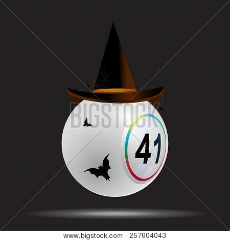 3d Illustration Of White Bingo Lottery Ball With Halloween Hat And Bats Over Black Background