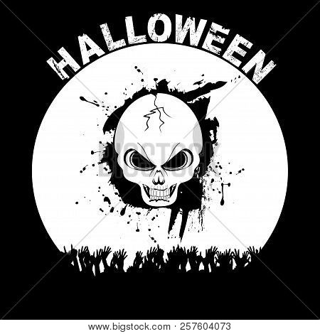 Halloween Silhouette Background With Skull Cheering Hands And Decorative Text