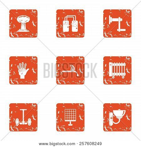 Contemporary Icons Set. Grunge Set Of 9 Contemporary Icons For Web Isolated On White Background