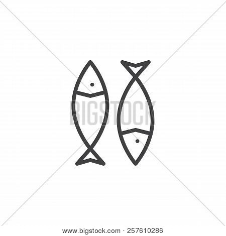 Dried Fish Outline Icon. Linear Style Sign For Mobile Concept And Web Design. Fish Snack Simple Line