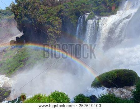 View Of Rainbow At Iguazu Falls Argentina