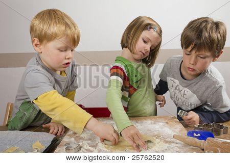 Kids Cutting Cookies