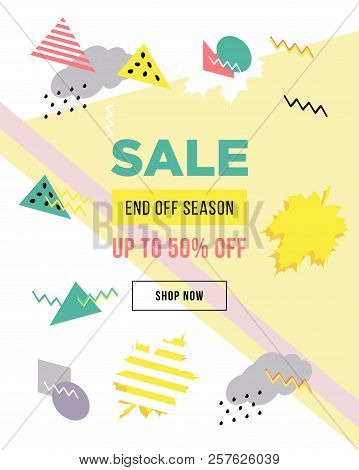 eef9557ccebb5 Sale Poster With Geometric Shapes. Super Sale Vector Illustration. Vector  Background In Retro 80s