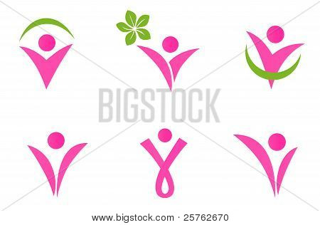 Abstract Fit Woman Icons Set Isolated On White - Pink And Green.