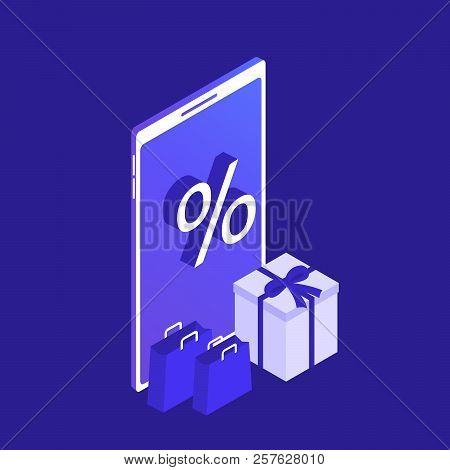 Isometric Smart Phone Online Shopping Concept. Online Store. Big Sale. Ecommerce.