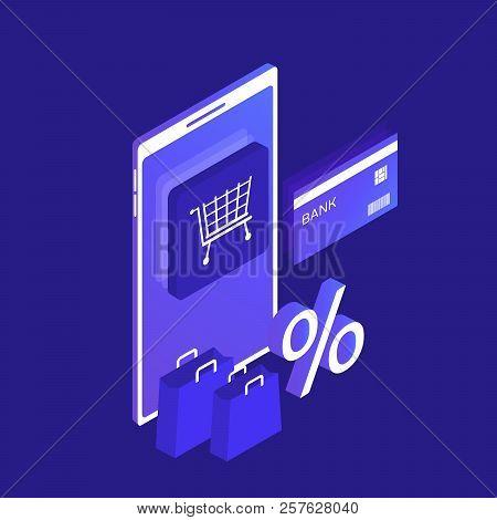 Isometric Smart Phone Online Shopping Concept. Online Store. Big Sale. Ecommerce. Modern Vector Illu