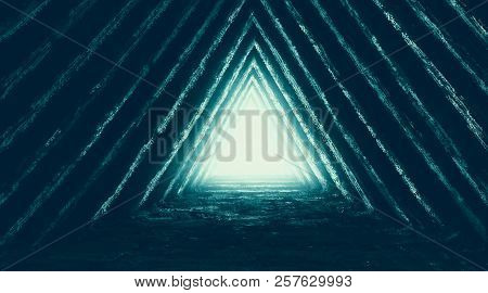 Unknown Temple Of Destiny Illustration. Drawing Illustration With Corridor Triangular Shape. Genre O