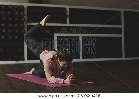 Woman Training In The Gym. Sporty Young Girl Training Indoors. Healthy Woman Doing  Exercise On Fitn