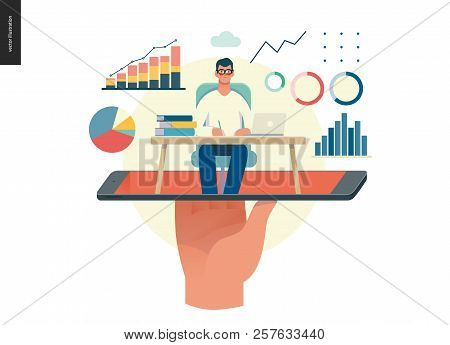 Business Series, Color 1 - Expert Online Consulting -modern Flat Vector Illustration Concept Of Cons