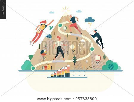 Business Series, Color 1- Career -modern Flat Vector Illustration Concept Of Career - People Climbin