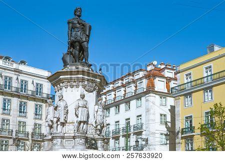 Lisbon, Portugal, The  Monument To Luiz De Camoes In Chiado Square