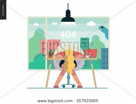 Business Series, Color 1- Error 404 -modern Flat Vector Concept Illustration Of Page Error 404. Exha