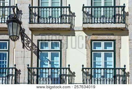 Lisbon, Portugal, The Traditional Facade Of A House Of Chiado District