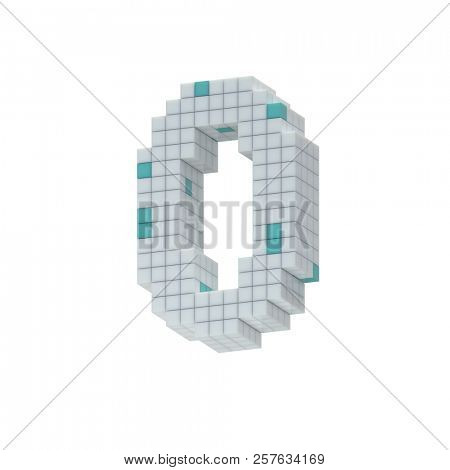 digit 0, zero, nil, collected from cubes, 3d illustration