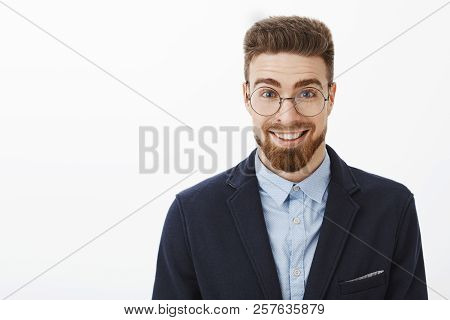 Ambitious Smart And Creative Stylish Young Businessman In Round Glasses With Beard And Blue Eyes Sta