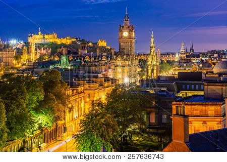 Edinburgh Cityscape from Calton Hill sunset dusk, Edinburgh, Scotland UK
