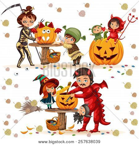 Halloween Family Colorful Set Vector Illustration. Mother And Father With Children Dressed In Myster
