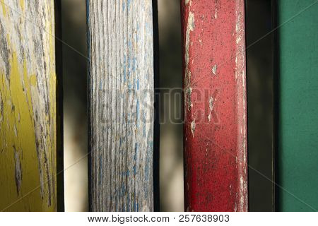 Abstract Colorful Background. Colorful Wooden Panels. Wooden Panels.old Wooden Fence. Close-up Shot