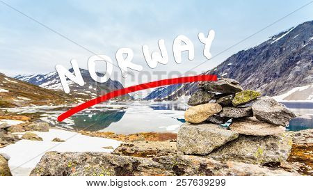 Tourism holidays and travel. Djupvatnet lake in Stranda More og Romsdal, Norway Scandinavia. poster