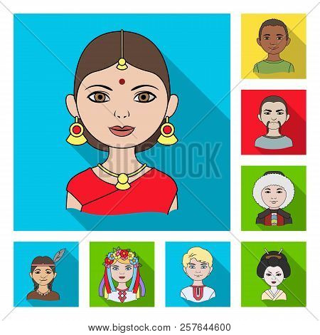 The Human Race Flat Icons In Set Collection For Design. People And Nationality Vector Symbol Stock W