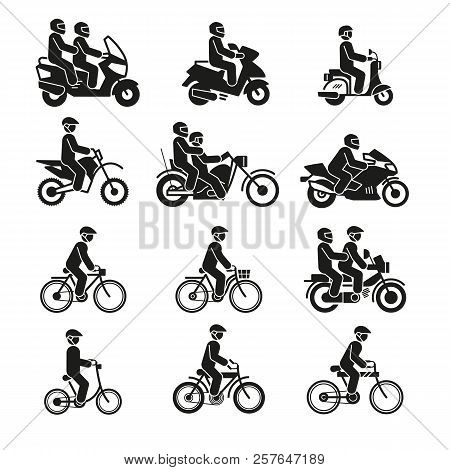 Motorcycles And Bicycles Icons. Moto Vehicles With Persons Biker And Cyclist Vector Pictograms Isola