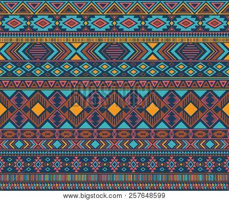 Peruvian American Indian Pattern Tribal Ethnic Motifs Geometric Seamless Background. Impressive Nati