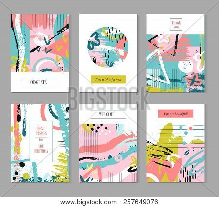 Contemporary Universal Placards. Summer Splatter, Artworks Covered In Ink. Vector Wedding Banners An
