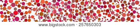Abstract Horizontal Banner Of Circles Of Different Sizes In Shades Of Red Colors On White Background