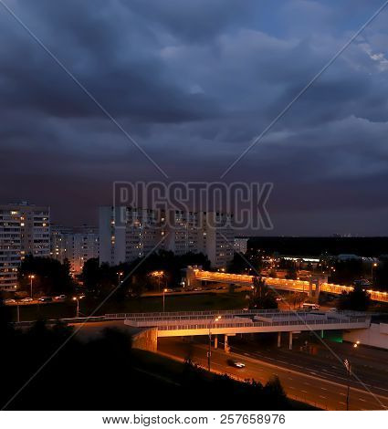 A Stormy Sky Over The Evening City. Moscow