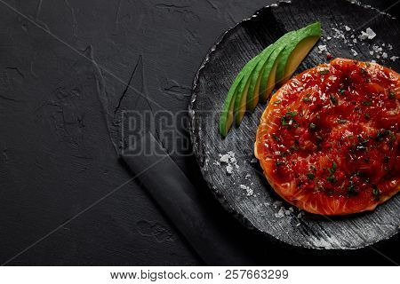 Top View Of Delicious Traditional Japanese Savory Pancake Okonomiyaki