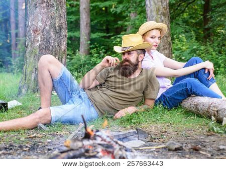 Family Traditions. Family Activity For Summer Vacation In Forest And Nature. Family Relaxing Near Bo