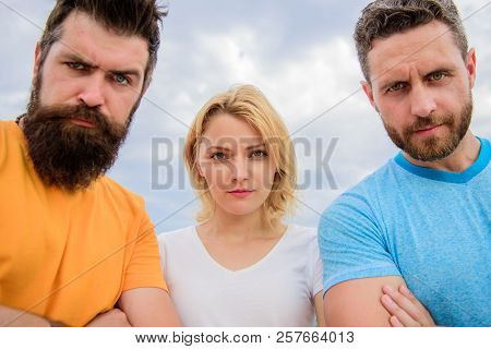 Suspicious Look. They Know What You Did. Threesome Suspiciously Look Down. Group People Suspect You.