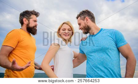 Girl Decided With Whom Dating. Girl Stand Between Two Men. Couple And Rejected Partner. Woman Picked