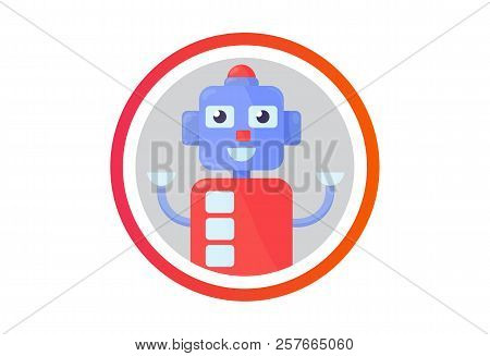 Flat Cartoon Robot Vector Illustration: Happy Robot Avatar. Chatbot Or Bot Icon.