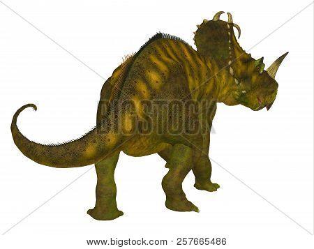 Centrosaurus Dinosaur Tail 3d Illustration - Centrosaurus Was A Beaked Ceratopsian Herbivorous Dinos
