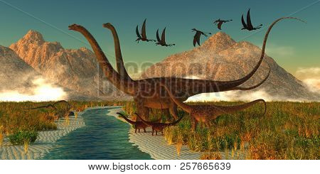 Diplodocus Dinosaur Afternoon 3D illustration - A herd of Diplodocus dinosaurs bring their youngsters to a small stream for a drink in the Jurassic Period of North America. poster